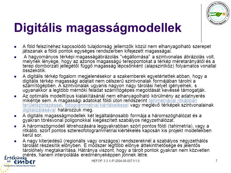 HEFOP 3.3.1–P-2004-06-0071/1.07 Digitális magasságmodellek A föld felszínéhez kapcsolódó tulajdonság jellemzők közül nem elhanyagolható szerepet játsz
