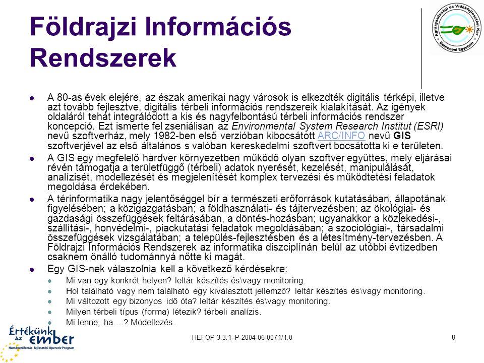 HEFOP 3.3.1–P-2004-06-0071/1.09 Térinformatikai rendszerek területi kiterjedése