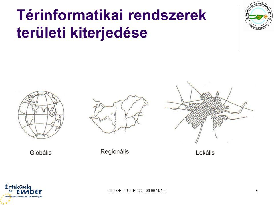 HEFOP 3.3.1–P-2004-06-0071/1.030 A digitalizálás A térképek a területfüggő információk felhalmozott együttesei.