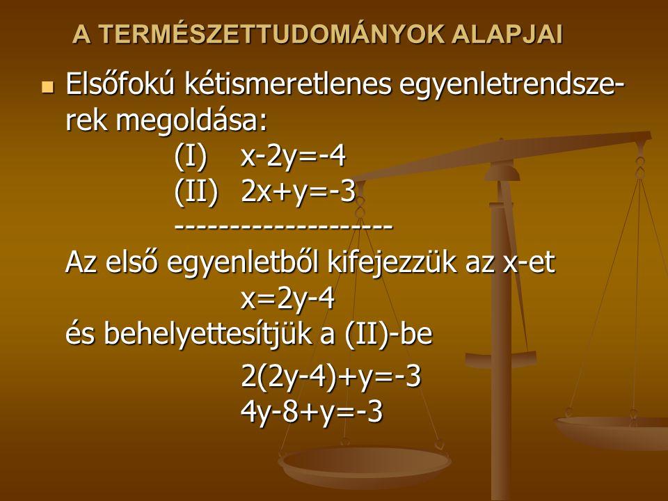 A TERMÉSZETTUDOMÁNYOK ALAPJAI Elsőfokú kétismeretlenes egyenletrendsze- rek megoldása: (I)x-2y=-4 (II)2x+y=-3 -------------------- Az első egyenletből