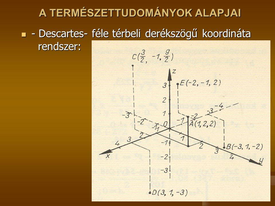 A TERMÉSZETTUDOMÁNYOK ALAPJAI - Descartes- féle térbeli derékszögű koordináta rendszer: - Descartes- féle térbeli derékszögű koordináta rendszer: