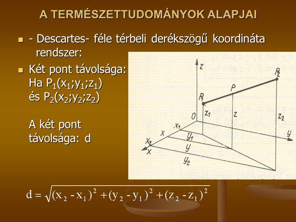 A TERMÉSZETTUDOMÁNYOK ALAPJAI - Descartes- féle térbeli derékszögű koordináta rendszer: - Descartes- féle térbeli derékszögű koordináta rendszer: Két