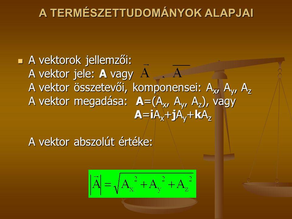 A TERMÉSZETTUDOMÁNYOK ALAPJAI A vektorok jellemzői: A vektor jele: A vagy A vektor összetevői, komponensei: A x, A y, A z A vektor megadása: A=(A x, A