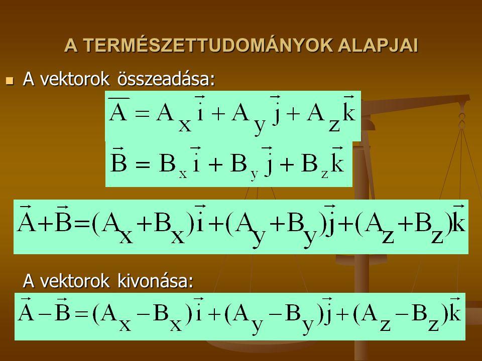 A TERMÉSZETTUDOMÁNYOK ALAPJAI A vektorok összeadása: A vektorok kivonása: A vektorok összeadása: A vektorok kivonása: