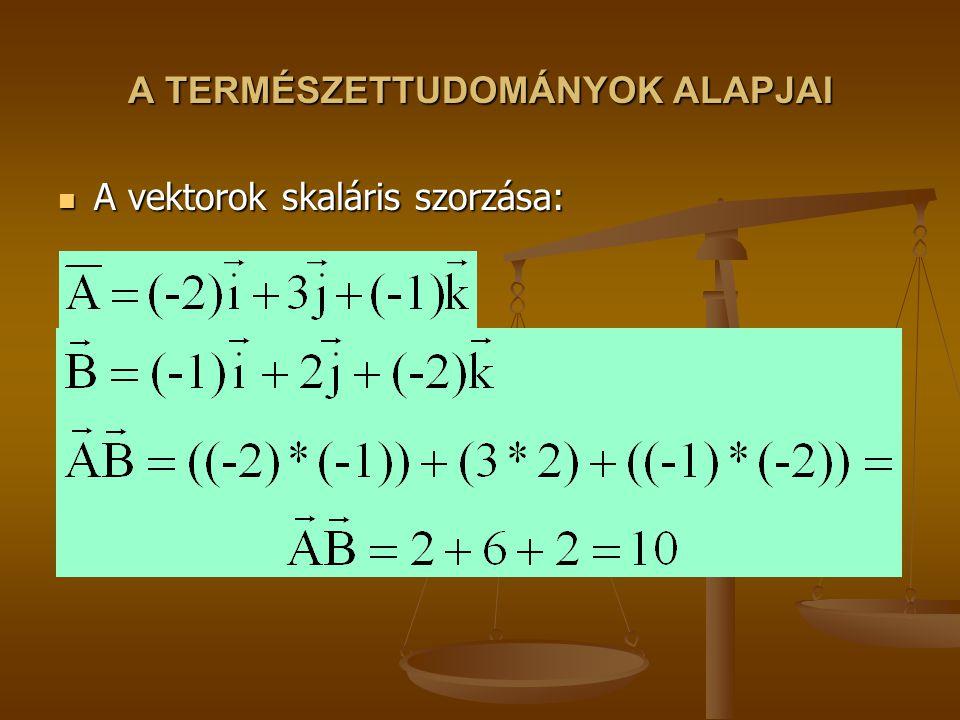 A TERMÉSZETTUDOMÁNYOK ALAPJAI A vektorok skaláris szorzása: A vektorok skaláris szorzása:
