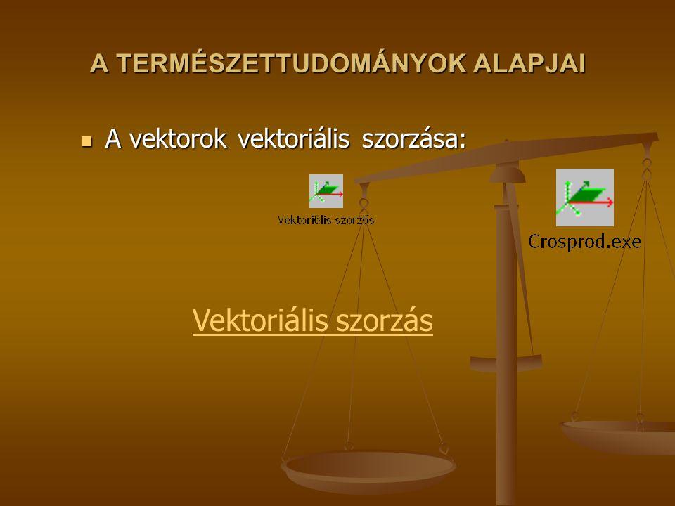 A TERMÉSZETTUDOMÁNYOK ALAPJAI A vektorok vektoriális szorzása: A vektorok vektoriális szorzása: Vektoriális szorzás