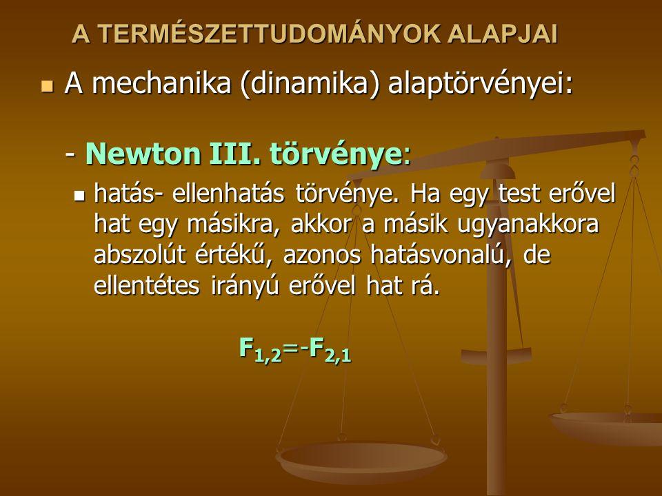 A TERMÉSZETTUDOMÁNYOK ALAPJAI A mechanika (dinamika) alaptörvényei: - Newton III. törvénye: A mechanika (dinamika) alaptörvényei: - Newton III. törvén