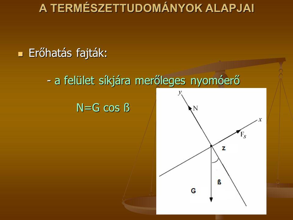 A TERMÉSZETTUDOMÁNYOK ALAPJAI Erőhatás fajták: - a felület síkjára merőleges nyomóerő N=G cos ß Erőhatás fajták: - a felület síkjára merőleges nyomóer