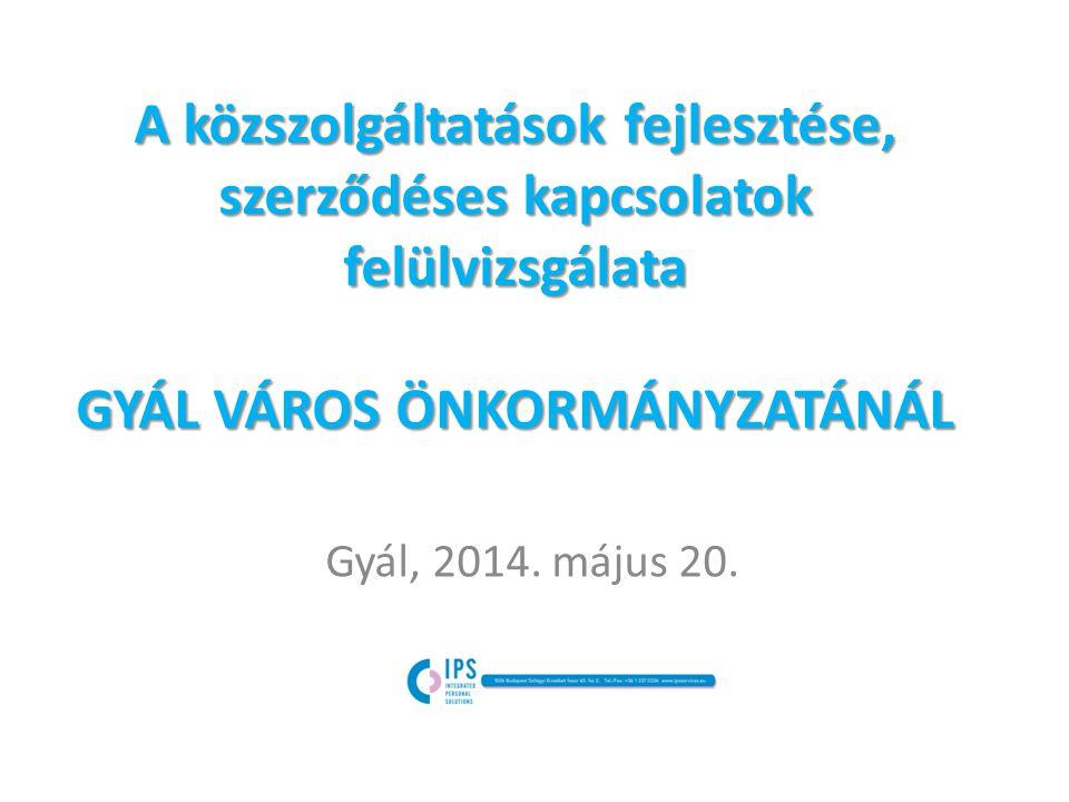 A közszolgáltatások fejlesztése, szerződéses kapcsolatok felülvizsgálata GYÁL VÁROS ÖNKORMÁNYZATÁNÁL Gyál, 2014.
