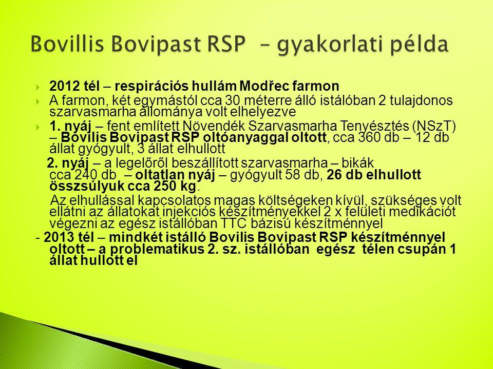  2012 tél – respirációs hullám Modřec farmon  A farmon, két egymástól cca 30 méterre álló istálóban 2 tulajdonos szarvasmarha állománya volt elhelye