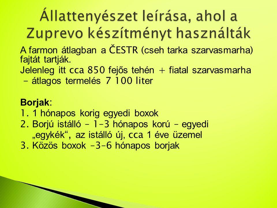 A farmon átlagban a ČESTR ( cseh tarka szarvasmarha ) fajtát tartják. Jelenleg itt cca 850 fejős tehén + fiatal szarvasmarha - átlagos termelés 7 100