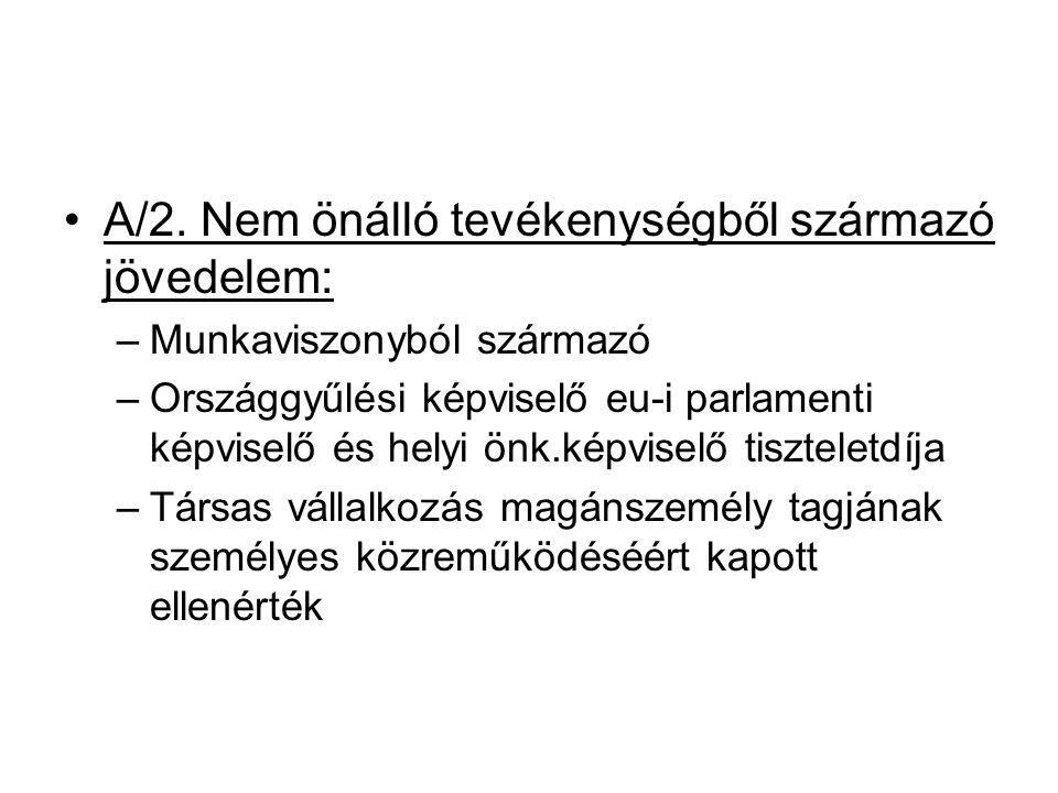 A/2. Nem önálló tevékenységből származó jövedelem: –Munkaviszonyból származó –Országgyűlési képviselő eu-i parlamenti képviselő és helyi önk.képviselő