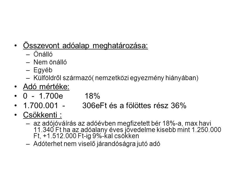Összevont adóalap meghatározása: –Önálló –Nem önálló –Egyéb –Külföldről származó( nemzetközi egyezmény hiányában) Adó mértéke: 0 - 1.700e 18% 1.700.00