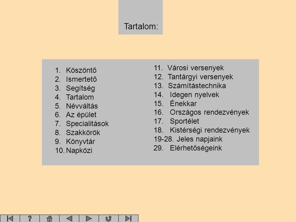 Tartalom: 1.Köszöntő 2.Ismertető 3.Segítség 4.Tartalom 5.Névváltás 6.Az épület 7.Specialitások 8.Szakkörök 9.Könyvtár 10.Napközi 11. Városi versenyek
