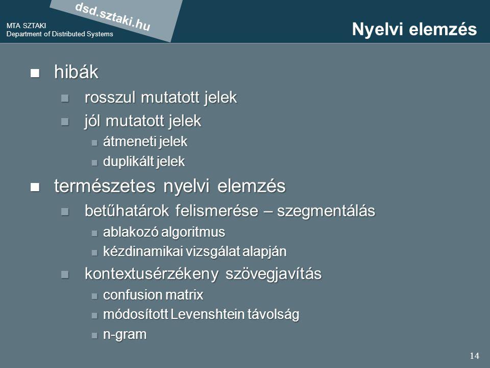 dsd.sztaki.hu MTA SZTAKI Department of Distributed Systems 14 Nyelvi elemzés hibák hibák rosszul mutatott jelek rosszul mutatott jelek jól mutatott jelek jól mutatott jelek átmeneti jelek átmeneti jelek duplikált jelek duplikált jelek természetes nyelvi elemzés természetes nyelvi elemzés betűhatárok felismerése – szegmentálás betűhatárok felismerése – szegmentálás ablakozó algoritmus ablakozó algoritmus kézdinamikai vizsgálat alapján kézdinamikai vizsgálat alapján kontextusérzékeny szövegjavítás kontextusérzékeny szövegjavítás confusion matrix confusion matrix módosított Levenshtein távolság módosított Levenshtein távolság n-gram n-gram