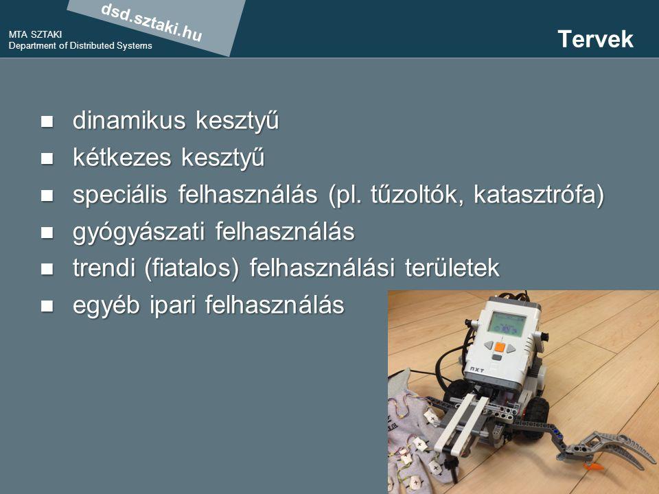 dsd.sztaki.hu MTA SZTAKI Department of Distributed Systems 18 Tervek dinamikus kesztyű dinamikus kesztyű kétkezes kesztyű kétkezes kesztyű speciális felhasználás (pl.