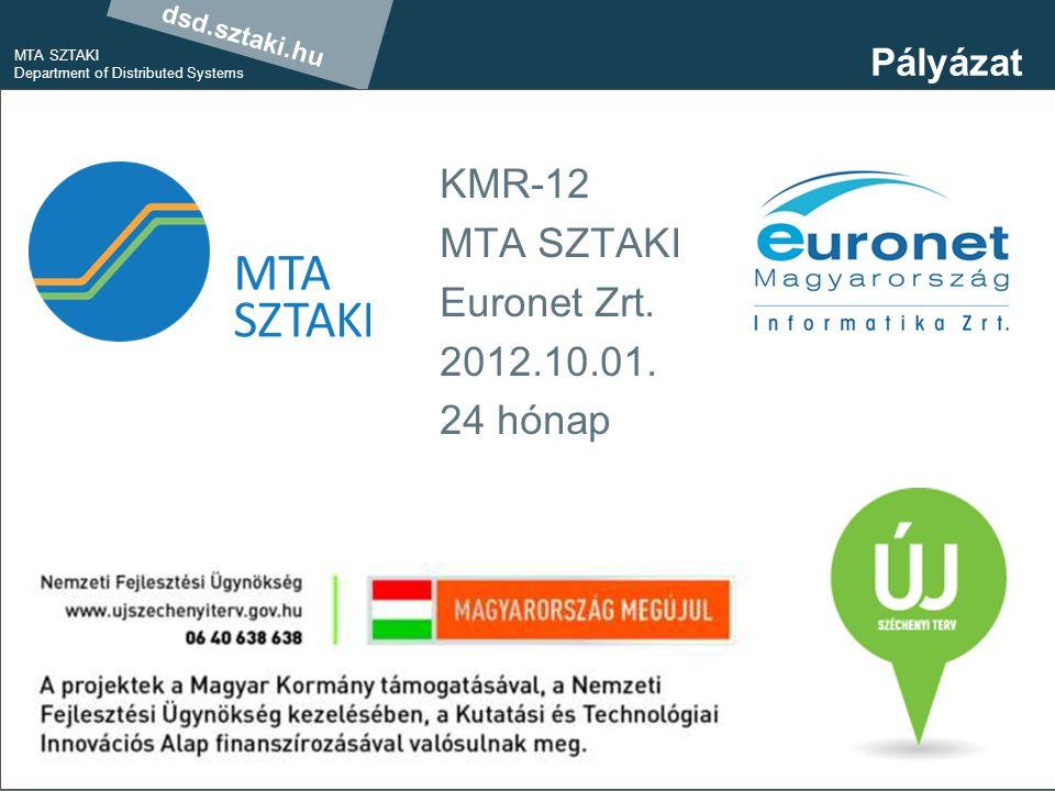 dsd.sztaki.hu MTA SZTAKI Department of Distributed Systems 19 Pályázat KMR-12 MTA SZTAKI Euronet Zrt.