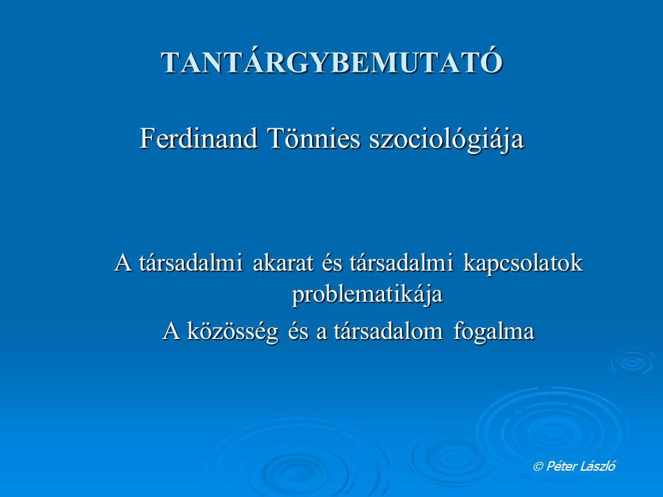 TANTÁRGYBEMUTATÓ Ferdinand Tönnies szociológiája A társadalmi akarat és társadalmi kapcsolatok problematikája A közösség és a társadalom fogalma  Pét