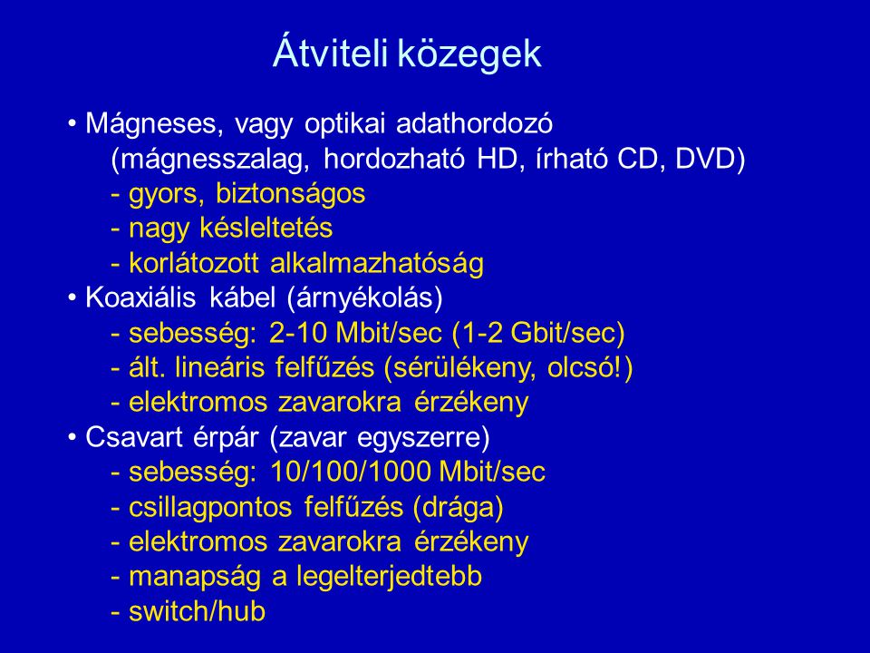 Átviteli közegek Mágneses, vagy optikai adathordozó (mágnesszalag, hordozható HD, írható CD, DVD) - gyors, biztonságos - nagy késleltetés - korlátozott alkalmazhatóság Koaxiális kábel (árnyékolás) - sebesség: 2-10 Mbit/sec (1-2 Gbit/sec) - ált.