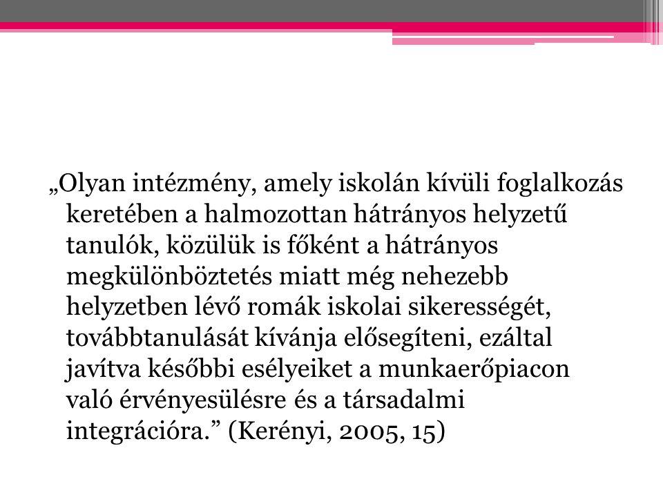 """""""Olyan intézmény, amely iskolán kívüli foglalkozás keretében a halmozottan hátrányos helyzetű tanulók, közülük is főként a hátrányos megkülönböztetés miatt még nehezebb helyzetben lévő romák iskolai sikerességét, továbbtanulását kívánja elősegíteni, ezáltal javítva későbbi esélyeiket a munkaerőpiacon való érvényesülésre és a társadalmi integrációra. (Kerényi, 2005, 15)"""