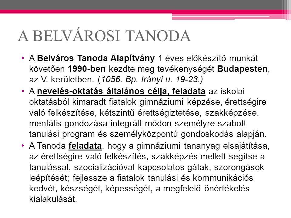 A BELVÁROSI TANODA A Belváros Tanoda Alapítvány 1 éves előkészítő munkát követően 1990-ben kezdte meg tevékenységét Budapesten, az V. kerületben. (105