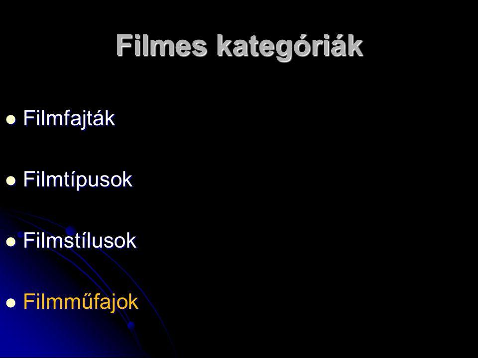 Filmes kategóriák Filmfajták Filmfajták Filmtípusok Filmtípusok Filmstílusok Filmstílusok Filmműfajok Filmműfajok