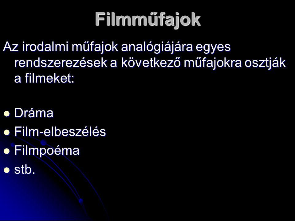 Filmműfajok Az irodalmi műfajok analógiájára egyes rendszerezések a következő műfajokra osztják a filmeket: Dráma Dráma Film-elbeszélés Film-elbeszélés Filmpoéma Filmpoéma stb.
