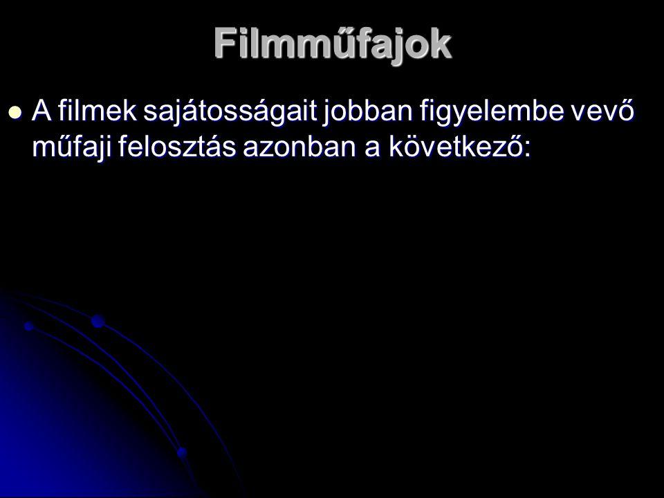Filmműfajok A filmek sajátosságait jobban figyelembe vevő műfaji felosztás azonban a következő: A filmek sajátosságait jobban figyelembe vevő műfaji felosztás azonban a következő: