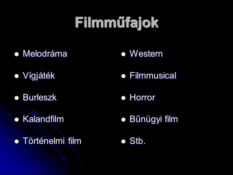 Filmműfajok Melodráma Melodráma Vígjáték Vígjáték Burleszk Burleszk Kalandfilm Kalandfilm Történelmi film Történelmi film Western Western Filmmusical Filmmusical Horror Horror Bűnügyi film Bűnügyi film Stb.