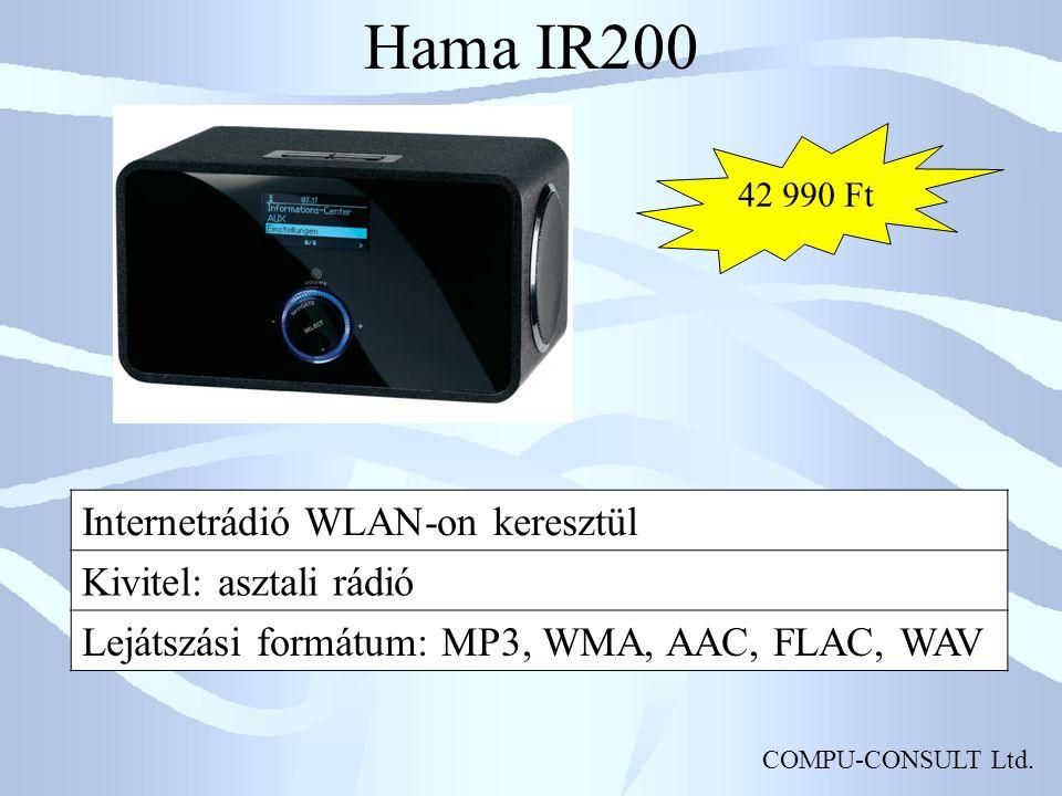 COMPU-CONSULT Ltd. Hama IR200 Internetrádió WLAN-on keresztül Kivitel: asztali rádió Lejátszási formátum: MP3, WMA, AAC, FLAC, WAV 42 990 Ft