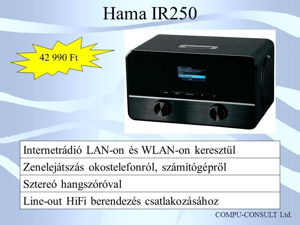 COMPU-CONSULT Ltd. Hama IR250 Internetrádió LAN-on és WLAN-on keresztül Zenelejátszás okostelefonról, számítógépről Sztereó hangszóróval Line-out HiFi