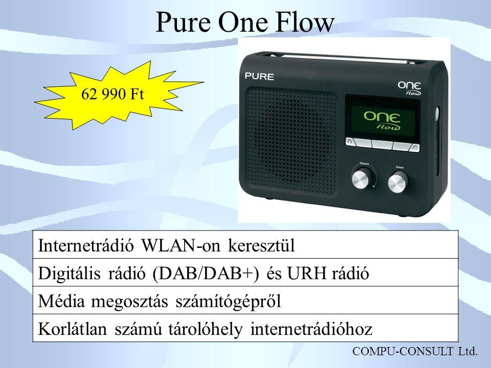 COMPU-CONSULT Ltd. Pure One Flow Internetrádió WLAN-on keresztül Digitális rádió (DAB/DAB+) és URH rádió Média megosztás számítógépről Korlátlan számú