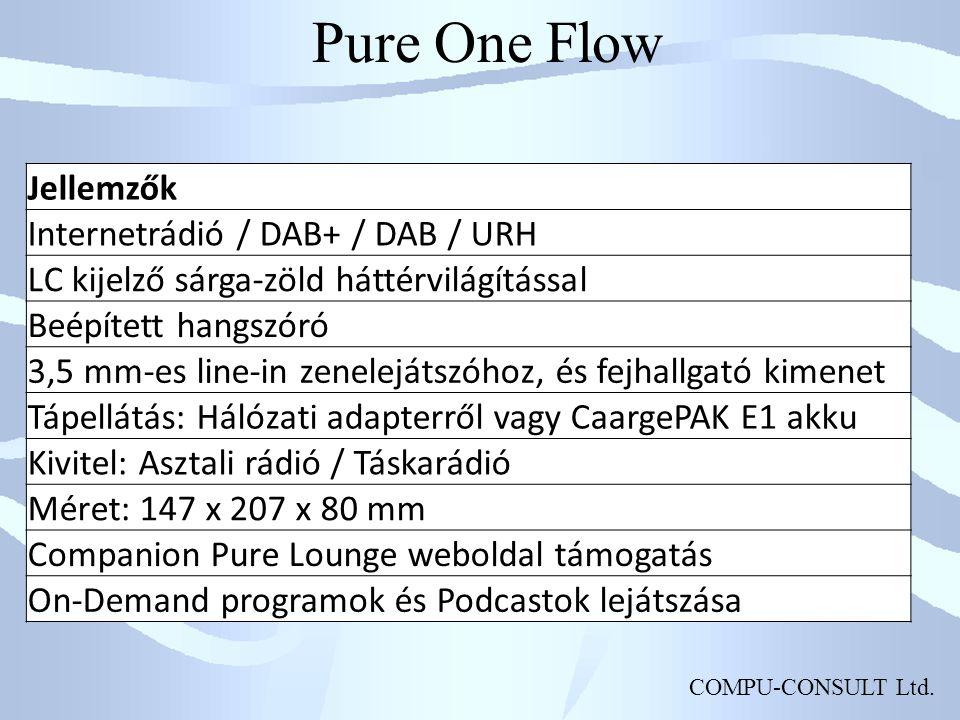 COMPU-CONSULT Ltd. Pure One Flow Jellemzők Internetrádió / DAB+ / DAB / URH LC kijelző sárga-zöld háttérvilágítással Beépített hangszóró 3,5 mm-es lin