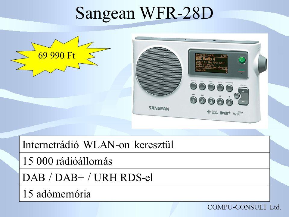 COMPU-CONSULT Ltd. Sangean WFR-28D Internetrádió WLAN-on keresztül 15 000 rádióállomás DAB / DAB+ / URH RDS-el 15 adómemória 69 990 Ft
