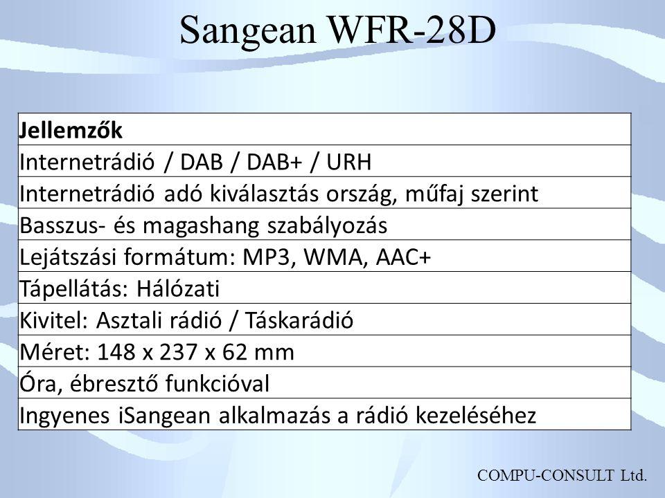 COMPU-CONSULT Ltd. Sangean WFR-28D Jellemzők Internetrádió / DAB / DAB+ / URH Internetrádió adó kiválasztás ország, műfaj szerint Basszus- és magashan