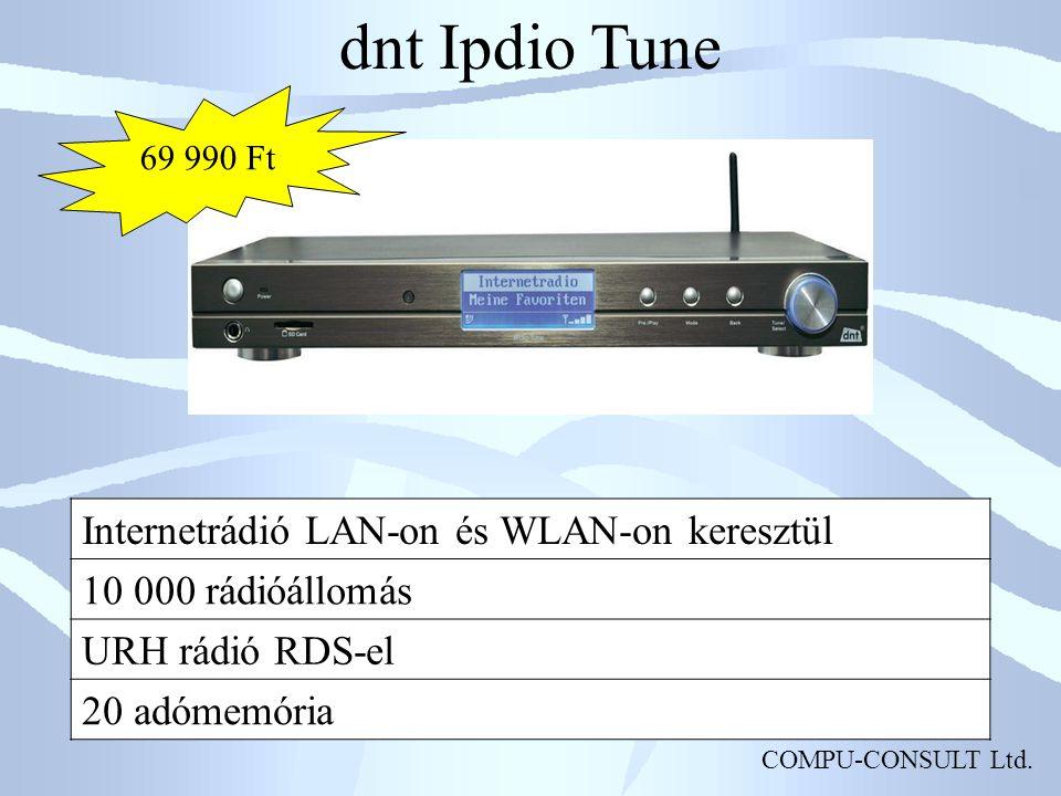 COMPU-CONSULT Ltd. dnt Ipdio Tune Internetrádió LAN-on és WLAN-on keresztül 10 000 rádióállomás URH rádió RDS-el 20 adómemória 69 990 Ft