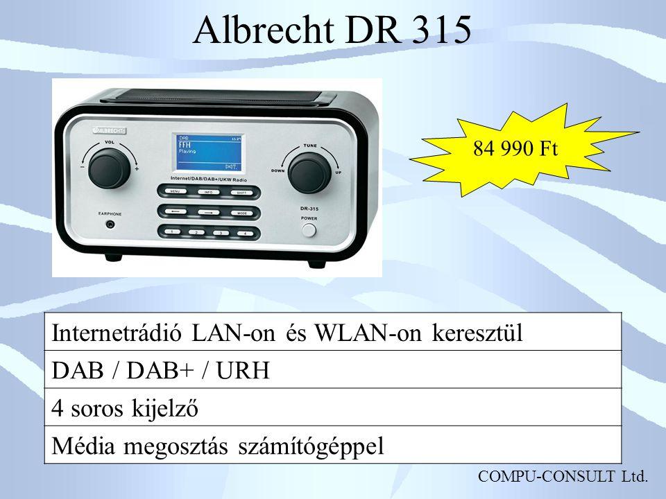 COMPU-CONSULT Ltd. Albrecht DR 315 Internetrádió LAN-on és WLAN-on keresztül DAB / DAB+ / URH 4 soros kijelző Média megosztás számítógéppel 84 990 Ft