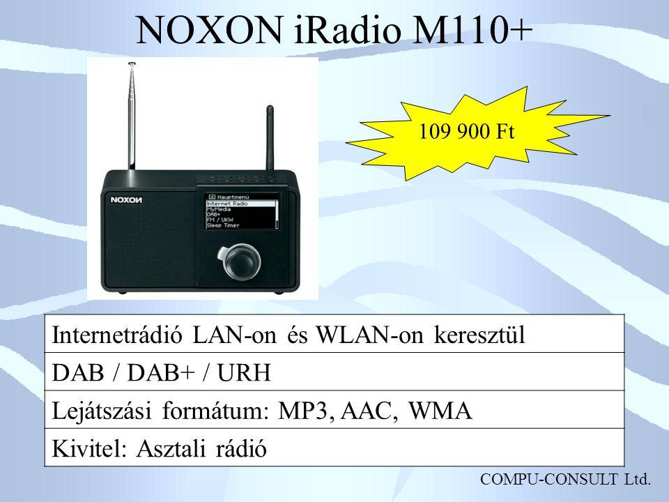 COMPU-CONSULT Ltd. NOXON iRadio M110+ Internetrádió LAN-on és WLAN-on keresztül DAB / DAB+ / URH Lejátszási formátum: MP3, AAC, WMA Kivitel: Asztali r