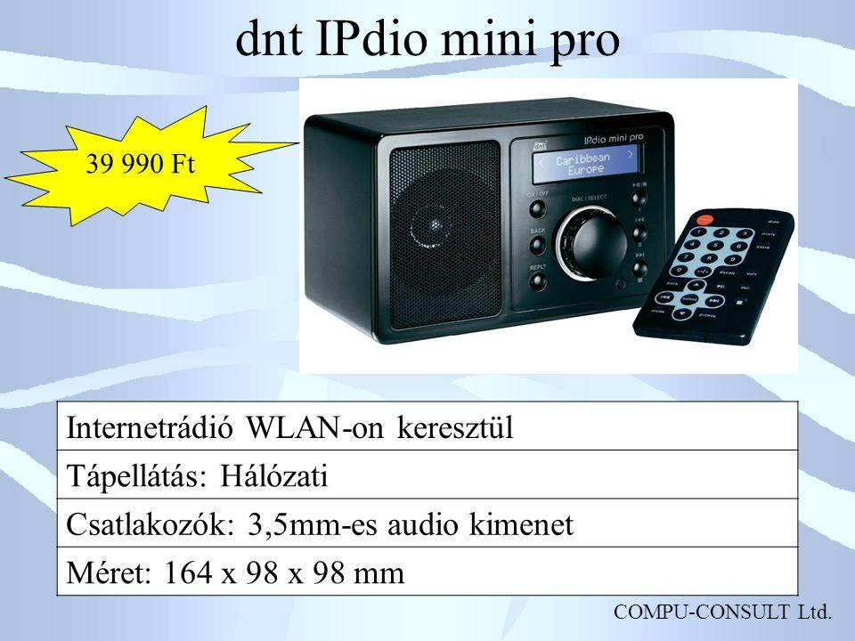 COMPU-CONSULT Ltd. dnt IPdio mini pro Internetrádió WLAN-on keresztül Tápellátás: Hálózati Csatlakozók: 3,5mm-es audio kimenet Méret: 164 x 98 x 98 mm