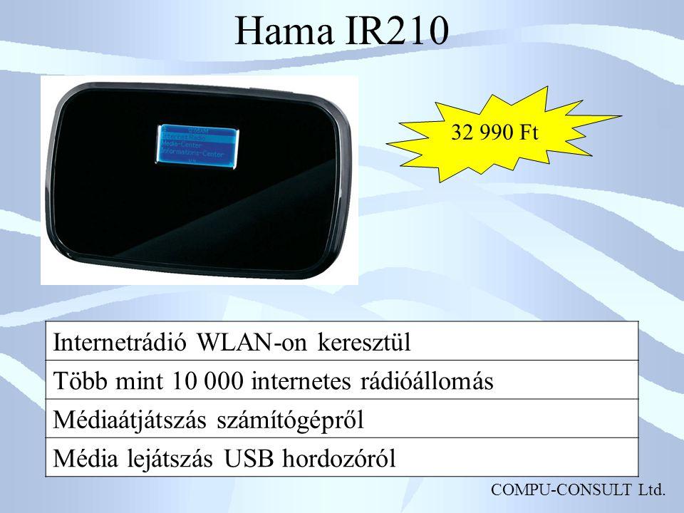 COMPU-CONSULT Ltd. Hama IR210 Internetrádió WLAN-on keresztül Több mint 10 000 internetes rádióállomás Médiaátjátszás számítógépről Média lejátszás US