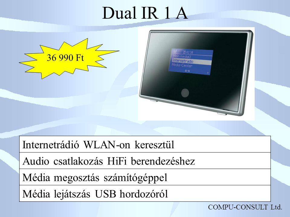 COMPU-CONSULT Ltd. Dual IR 1 A Internetrádió WLAN-on keresztül Audio csatlakozás HiFi berendezéshez Média megosztás számítógéppel Média lejátszás USB