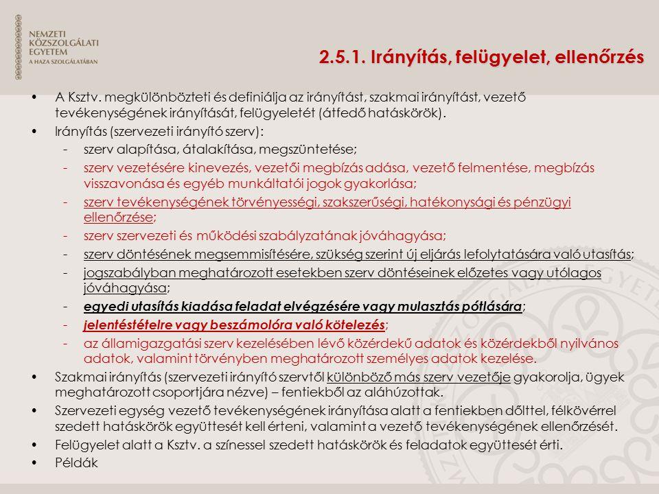 2.5.1. Irányítás, felügyelet, ellenőrzés A Ksztv. megkülönbözteti és definiálja az irányítást, szakmai irányítást, vezető tevékenységének irányítását,