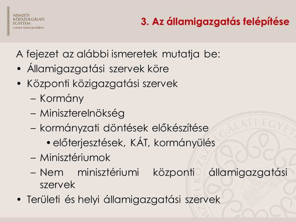 3. Az államigazgatás felépítése A fejezet az alábbi ismeretek mutatja be: Államigazgatási szervek köre Központi közigazgatási szervek –Kormány –Minisz