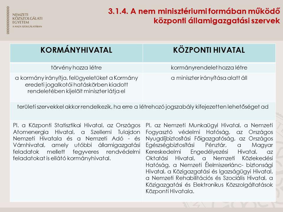 3.1.4. A nem minisztériumi formában működő központi államigazgatási szervek KORMÁNYHIVATALKÖZPONTI HIVATAL törvény hozza létrekormányrendelet hozza lé