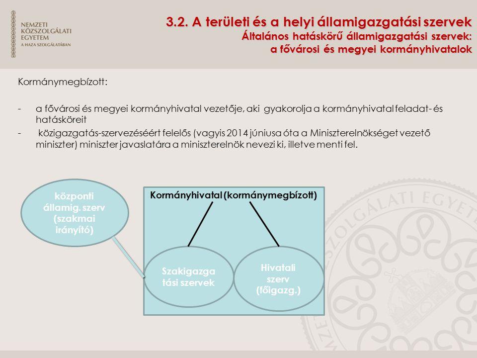 3.2. A területi és a helyi államigazgatási szervek Általános hatáskörű államigazgatási szervek: a fővárosi és megyei kormányhivatalok Kormánymegbízott