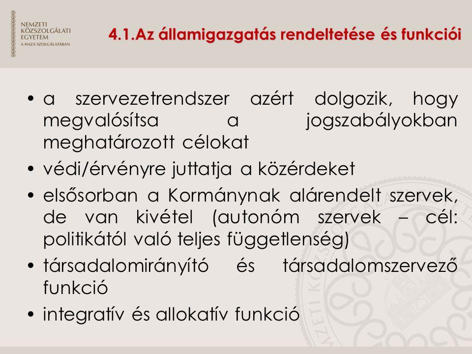 4.1.Az államigazgatás rendeltetése és funkciói a szervezetrendszer azért dolgozik, hogy megvalósítsa a jogszabályokban meghatározott célokat védi/érvé