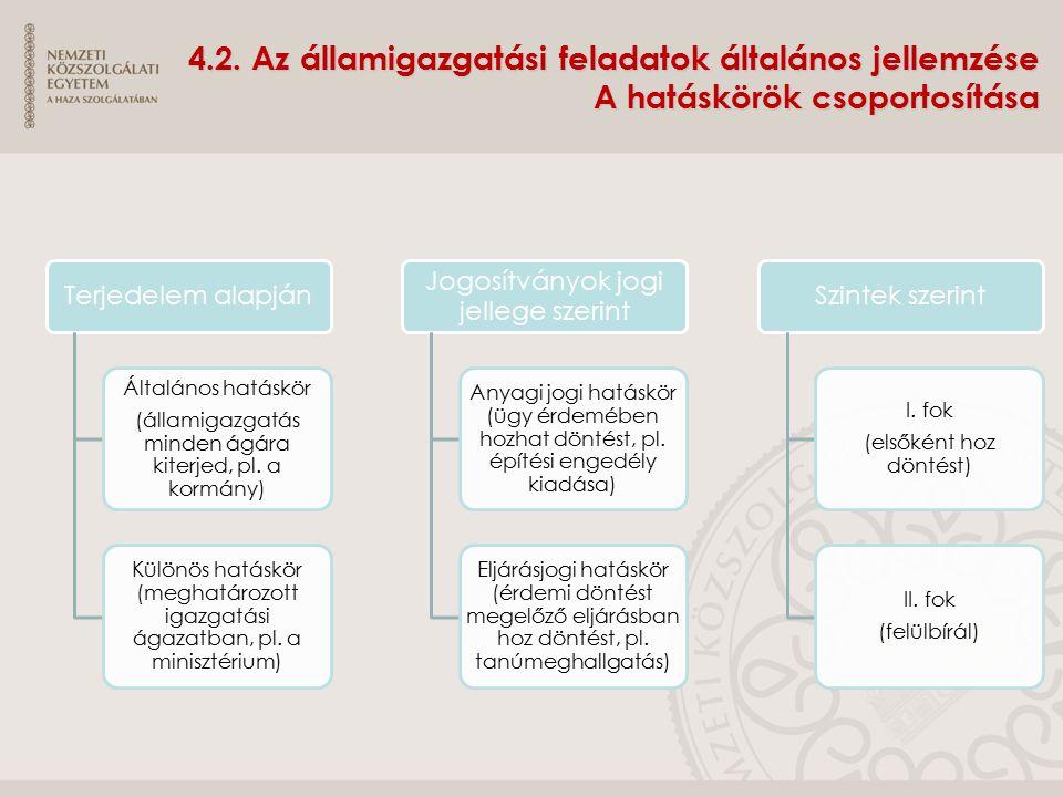 4.2. Az államigazgatási feladatok általános jellemzése A hatáskörök csoportosítása Terjedelem alapján Általános hatáskör (államigazgatás minden ágára