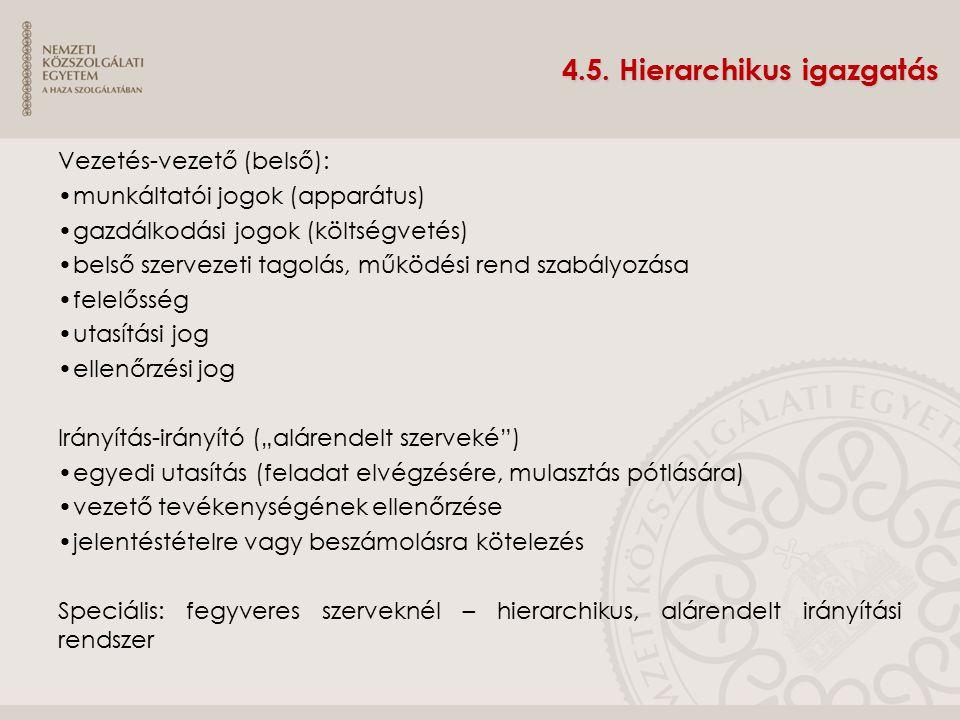 4.5. Hierarchikus igazgatás Vezetés-vezető (belső): munkáltatói jogok (apparátus) gazdálkodási jogok (költségvetés) belső szervezeti tagolás, működési