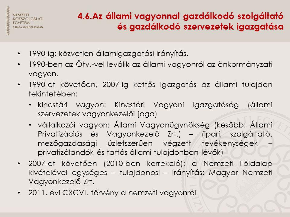 4.6.Az állami vagyonnal gazdálkodó szolgáltató és gazdálkodó szervezetek igazgatása 1990-ig: közvetlen államigazgatási irányítás. 1990-ben az Ötv.-vel