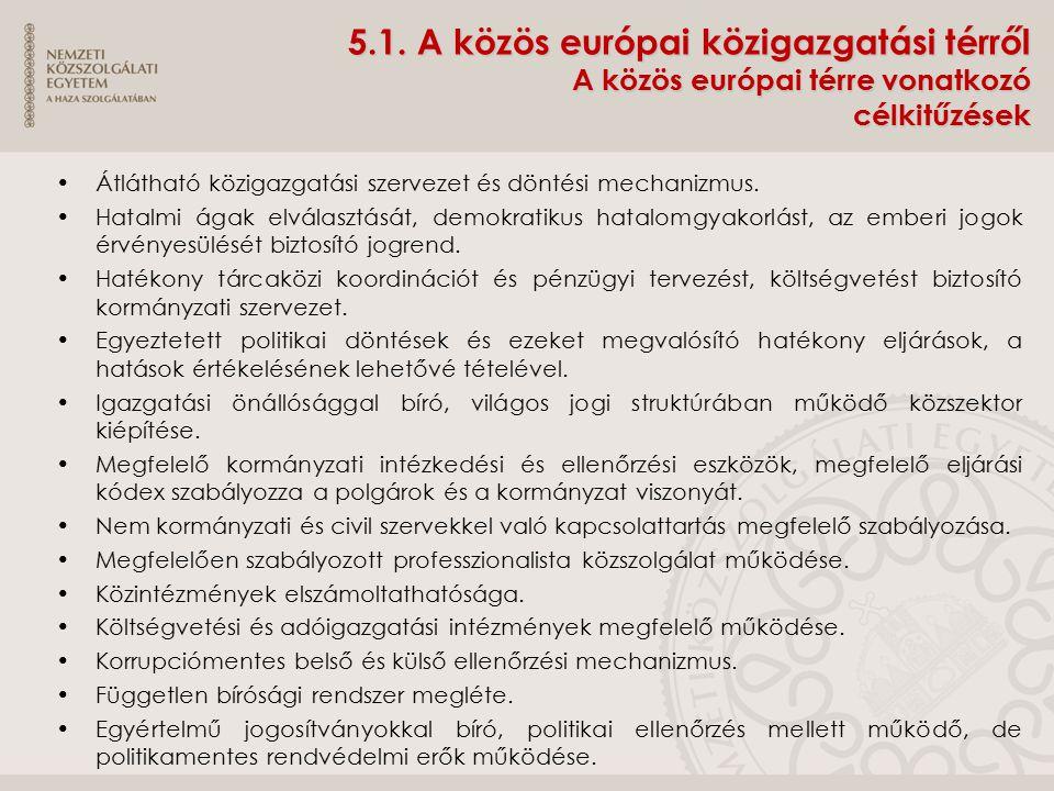 5.1. A közös európai közigazgatási térről A közös európai térre vonatkozó célkitűzések Átlátható közigazgatási szervezet és döntési mechanizmus. Hatal